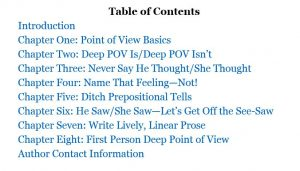 Rivet Your Readers with Deep Point of View Table of Contents