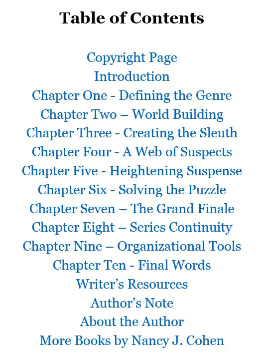 Writing the Cozy Mystery by Nancy J. Cohen, Table of Contents