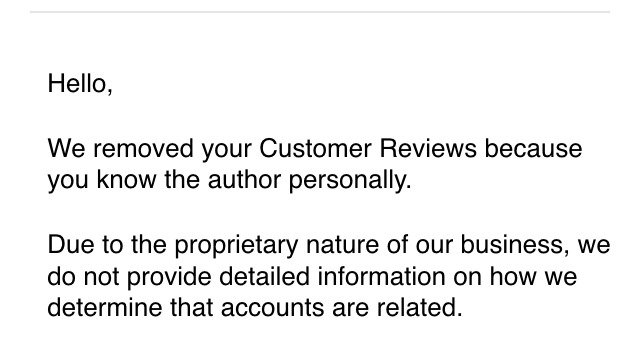 "Big Brother Amazon: ""We removed your customer review because you know the author."""