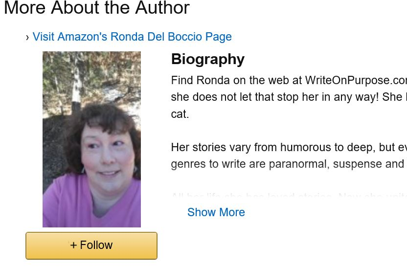 Ronda Del Boccio's photo shows up with her bio on all her book pages because she has an Amazon author profile
