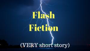 flash fiction short story graphic showing lighning striking