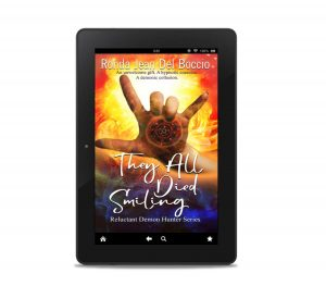 cover of They All Died Smiling shown in a tablet