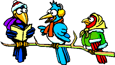 Picture of 3 birds reading books
